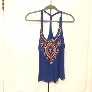 Love on a hanger small s blue tank top new tribal